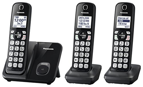 Panasonic Expandable Cordless Phone System with Call Block and High Contrast Displays and Keypads - 3 Cordless Handsets - KX-TGD513B (Black)