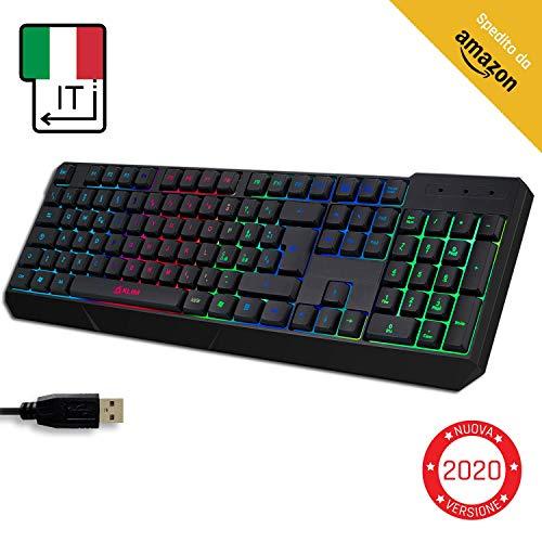 KLIM Chroma Tastiera ITALIANA per Gaming USB - Alte Performance – Colori da Videogioco e Retroilluminata – Tastiera da Gioco – Tastiera per Videogame, PC PS4 Windows, Mac - Nuova 2020 Versione