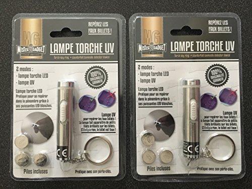 Lot de deux lampes torche compactes 2 en 1 / Lampe à 2 LEDS + Lampe UV détecteur de faux billets. Repérez les faux billets