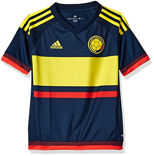 adidas Soccer Youth Colombia jersey, Small, Collegiate Navy/Lemon Peel