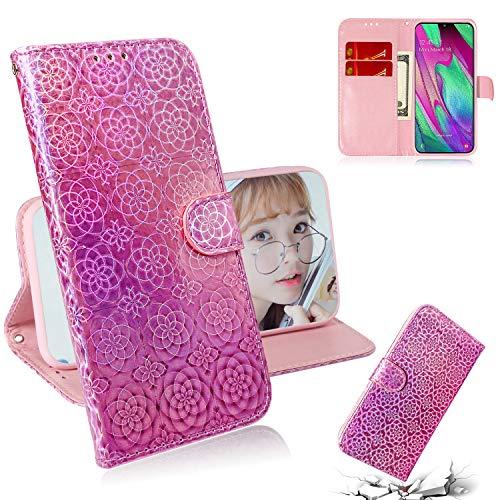 Capa carteira para Galaxy J4+ Plus [cor sólida][degradê colorida] capa carteira couro PU flip capa para celular Samsung J4+ Plus SM-J415 - rosa