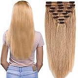 Clip in Extensions Set 100% Remy Echthaar 8 Teilig Haarverlängerung dick Dopplet Tressen Clip-In Hair Extension (35cm-120g,#27 Dunkelblond)