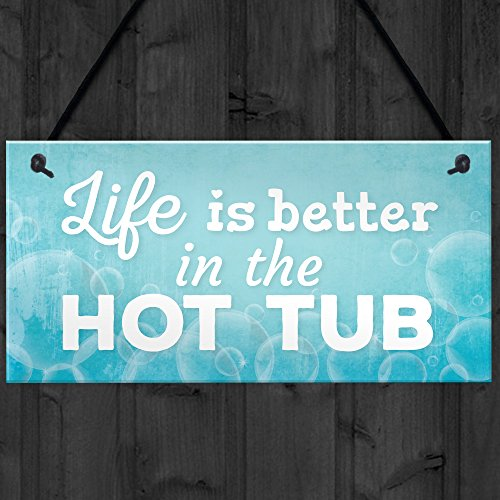 Novelty Hot Tub Sign Garden Decor Hanging Wall Shed Outdoor Plaque Jacuzzi Pool Summer Sign