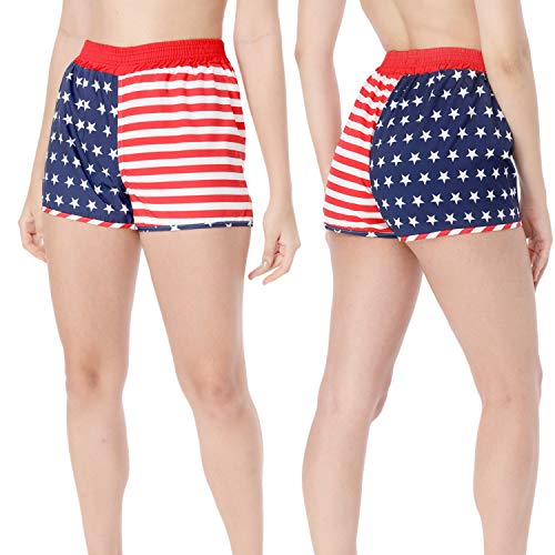 2 Stück Unisex USA Amerikanische Flagge Gedruckt Shorts Amerikanische Laufhose für Männer Damen (L)