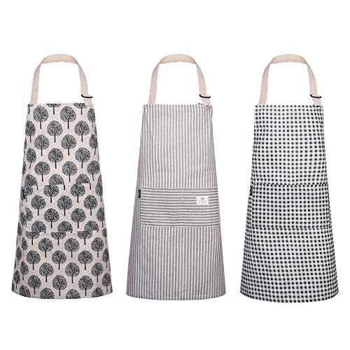 3 Stücke Baumwoll Leinen Kochschürze Verstellbare Kchenschrze mit Halsband Weiche Kochschrze Zum Kochen,Backen,Basteln,Grtnern und Grillen