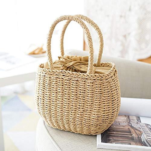 Frauentasche Damen Stroh Gewebte Tasche Sommer Rattan Handtasche Handgewebte Strandtasche Handtasche Beige