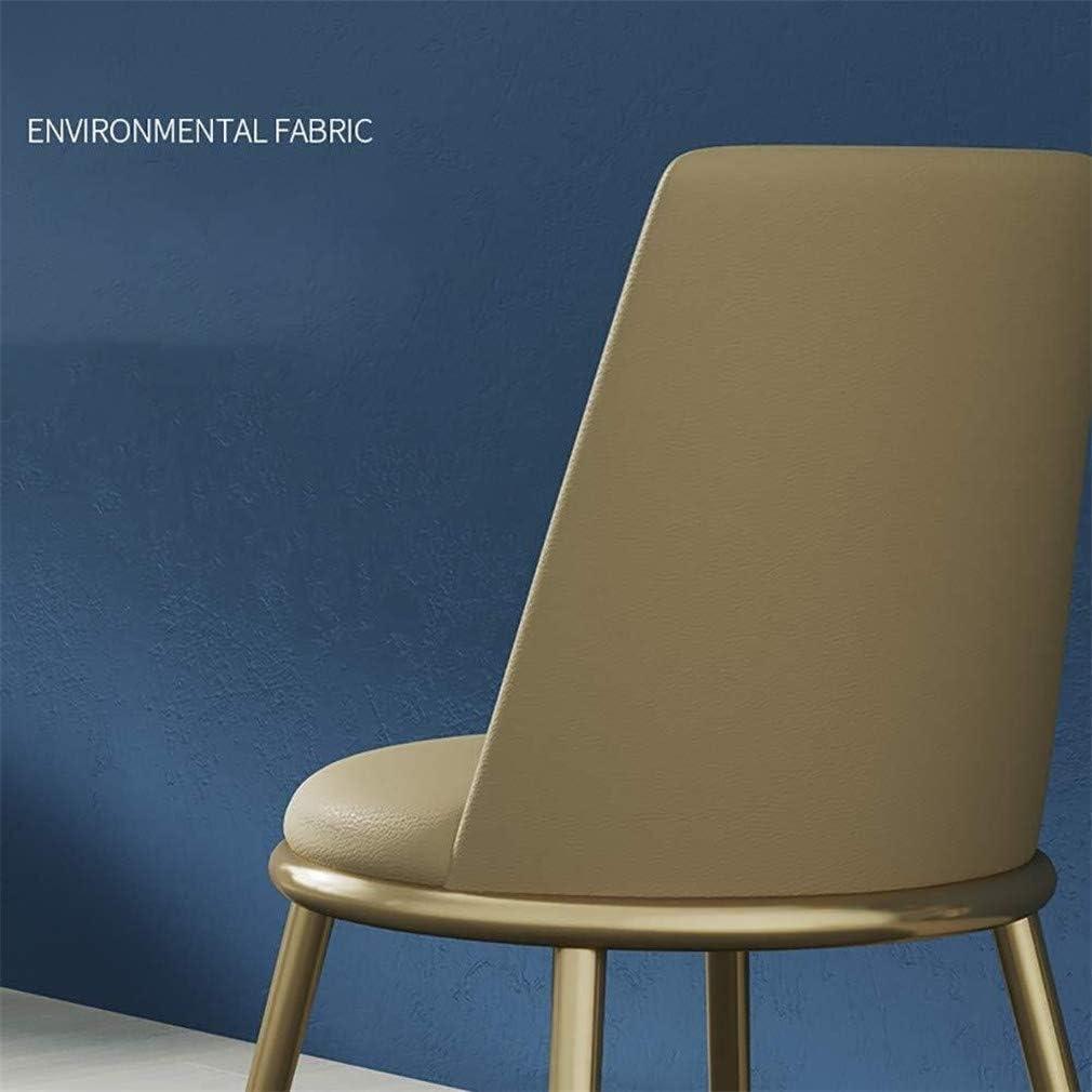 Cuir artificiel à manger simple chaise chaise longue dossier, cadre métallique chaise table basse tapissé, chaise de cuisine de la mode (Color : E) F
