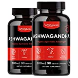 Ashwagandha Root Powder 500mg Capsules (Pack of 2) – [90 Count] 100% Organic Ashwagandha Extract – for Anxiety and Stress Relief | Cortisol and Mood | Adrenal & Immune Support | – Made in USA