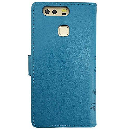 KUAWEI Huawei P9 Hülle Wallet Case Huawei P9 Hülle & Cases Flip Hüllen für Dein Huawei P9,Handy Schutzhülle Kunstleder Handycover Klapphülle mit Kartenfach und Magnetverschluss (Blau) - 5