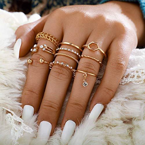 TseenYi Juego de anillos de dedo bohemios con diamantes de imitación dorados, para nudillos, anillos de mano, para mujeres y niñas