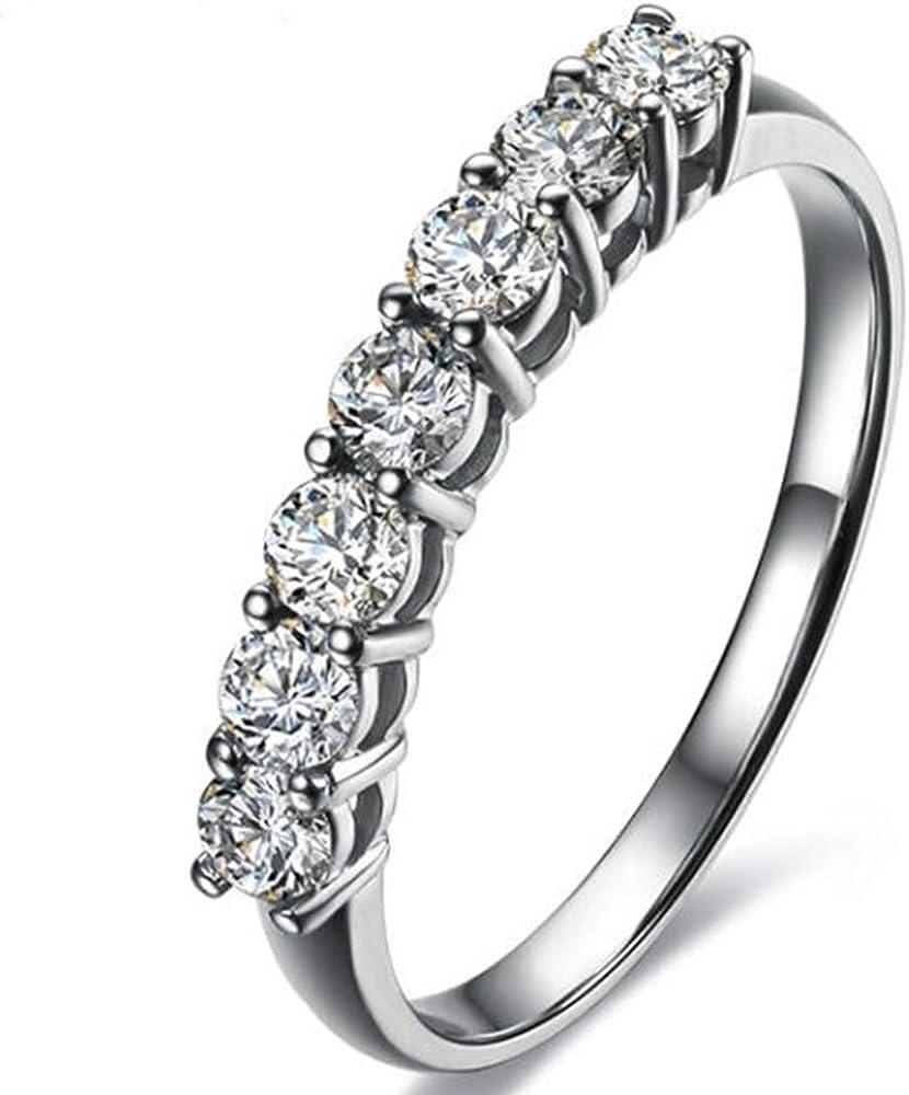 Jude Jewelers Rhodium Plated Seven Stone Band Style Wedding Engagement Promise Ring
