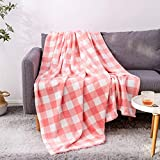 BEDELITE Fleece Blankets Pink and White Buffalo Plaid Throw Blankets for Couch & Bed, Plush Microfiber Fuzzy Check Blanket, Super Soft Warm Blankets for Winter