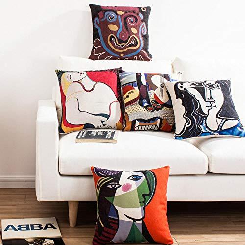 JWEK Funda de Almohada 5 Juegos de Funda de Almohada Decorativa Picasso Pintura Impresión Funda de cojín Cuadrado Sofá Funda de Almohada para el hogar 45X45 cm