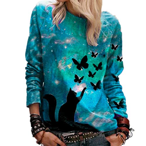 Herbst 3D Sternenhimmel Katze Schmetterlingsdruck LäSsig Langarm Damen T-Shirt