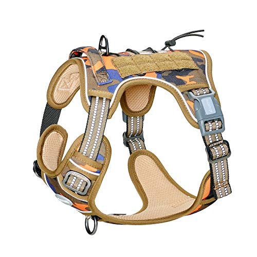 Auroth Tactical Dog Training Harness No Pulling Front Clip Leash Adhesion Reflective K9 Pet Working Vest Easy Control for Small Medium Large Dogs Orange Blue Camo M