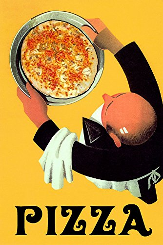 "Waiter Restaurant Bar Cheese Pizza Italian Food Vintage Poster Repro 24"" X 36"" Image Size SHIPPED ROLLED. We Have Other Sizes Available!"