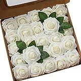 Ksnnrsng Rosa Rosse Artificiali, Fiori Artificiali Schiuma Teste di Rose Finti per DIY Matrimoni Mazzi Nuziale Festa Casa Decorazioni (25 Pezzi, Avorio)