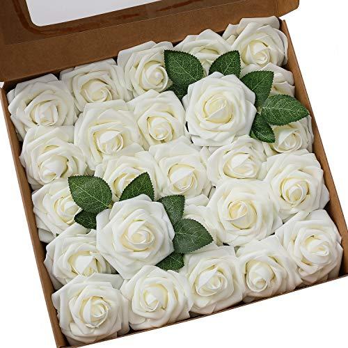Ksnnrsng Flores Rosas Artificiales Espuma Rosa Falsa para Manualidades, Ramos de Novia, centros de Mesa, Despedidas de Soltera y Decoración del Hogar (25 Piezas, Marfil)