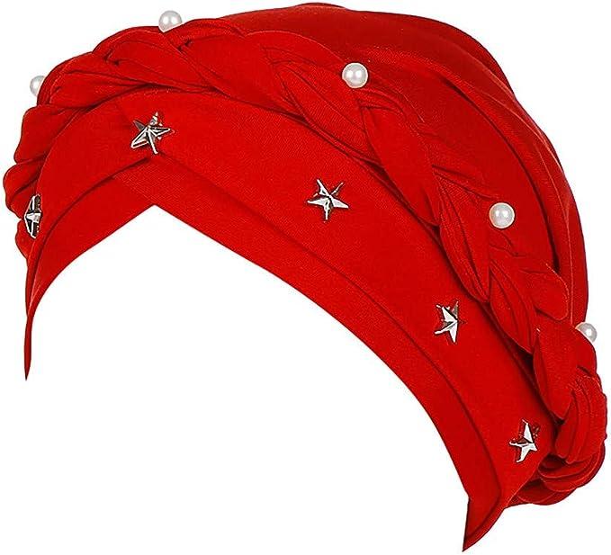 ZHOUBA Gorro turbante para beb/é con perlas de imitaci/ón de lana y lana de lana de lana rosa rosa