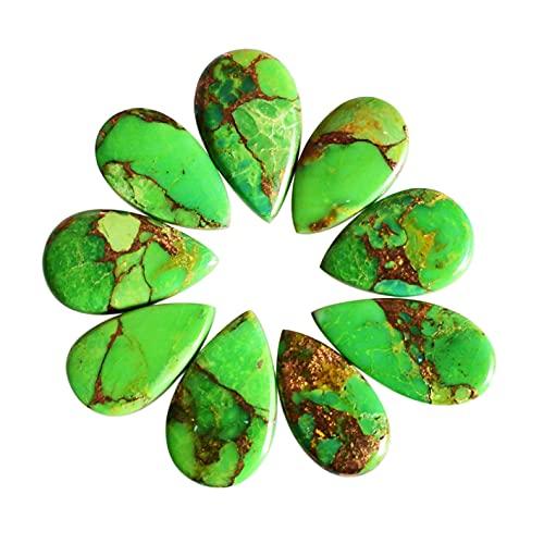 Cabujón turquesa de cobre verde, piedra preciosa de Mojave de cobre verde natural, cabujón de forma de pera de Mohave suave para joyas, lote de 9 piezas, 24324