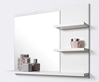 Miroir De Salle De Bain Avec étagères, 60 Cm, Blanc, Fixation Murale,