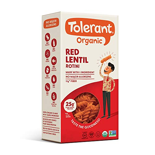 Tolerant Organic Gluten Free Red Lentil Rotini Pasta, 8 Ounce Box (Case of 6), Plant Based Protein, Vegan Pasta, Single Ingredient Protein Pasta, Whole Food, Clean Pasta, Low Glycemic Index Pasta