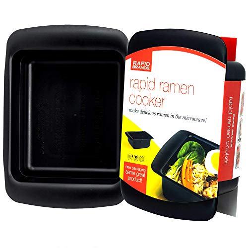 Rapid Ramen Cooker | Microwave Ramen in 3 Minutes | Perfect for Dorm, Small Kitchen, or Office | Dishwasher-Safe, Microwaveable, BPA-Free (Black)