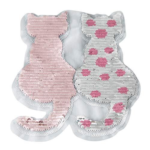 EXCEART 2 Piezas de Parches de Hierro con Lentejuelas Parches Bordados con Forma de Gato Apliques Diy Decoración Artesanal Coser Parches para Ropa Jeans (Rosa)