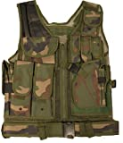 Ultimate Arms Gear Tactical Woodland Camo Camouflage Lightweight Edition Tactical Scenario Military-Hunting Assault Vest w/Right Handed Quick Draw Pistol Holster