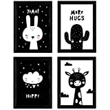 Nacnic Set de 4 láminas 'Conejo y girafa con cactus y nube con corazones'. Posters de animales. Tamaño A3 sin marco