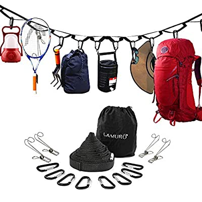 Campsite Storage Strap with 19 Separated Loops for Hanging Camping Equipment, Gear and Supplies | Includes Carabiner Hooks and Clothes Pins | Durable Campground Organizer Holds up to 150 LBS