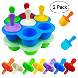Mity rain Mini Silicone Pop Molds- 7-cavity DIY Ice Popsicle Mold With Sticks and Drip-guards, Non-Stick Popsicle Makers for Egg Bites, Lollipop and Ice Cream Mould, Baby Food Storage Container-2 Pack