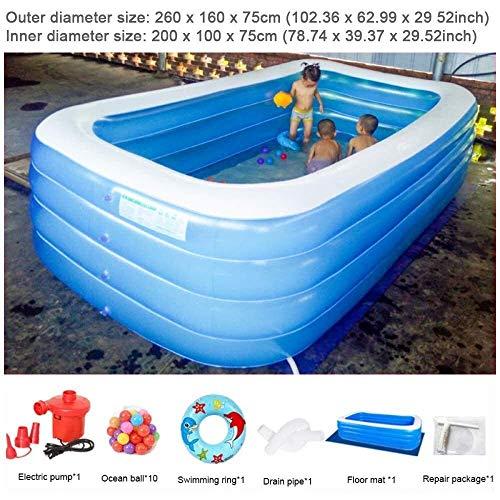 Anillo inflable para adultos con bomba de aire eléctrica para niños y niñas, 102.36 x 62.99 x 29.52 pulgadas ANGANG