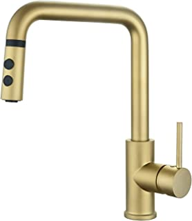 Champagne Gold Pull Out Kitchen Sink Faucet Matte Brushed Bright Gold Single Handle with Pull Down Sprayer Peppermint