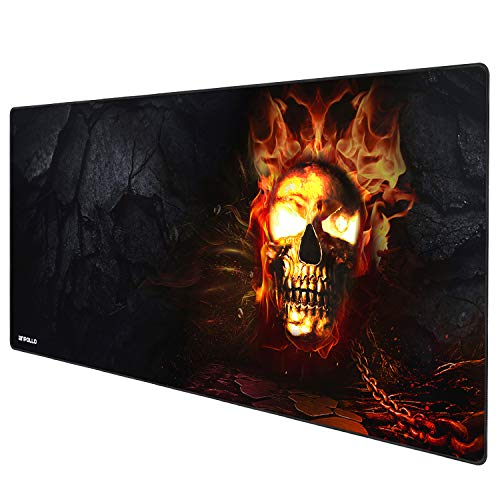 Anpollo Extended Gaming Mouse Pad with Stitched Edges, Long XXL Mousepad (900x400x3mm), Desk Pad Keyboard Mat, Non-Slip Base, Water-Resistant, for Work & Gaming, Office & Home, Skull