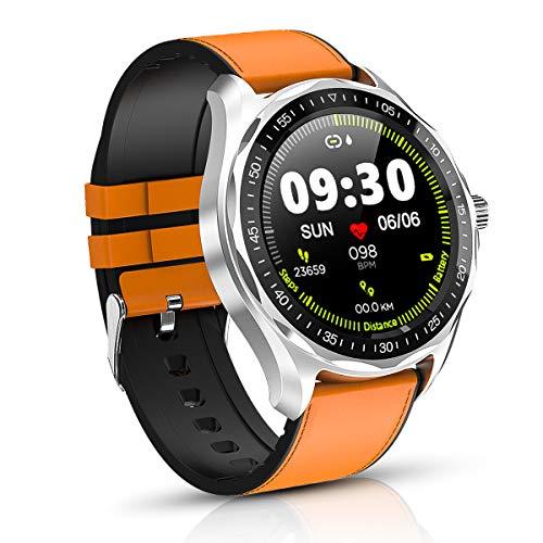 Intelligente Uhren, 1.3 Zoll Full Round HD Farb Touchscreen Fitness Tracker 5ATM wasserdichte Fitness-Uhr, Schlaf Herzfrequenz Tracker Smart Reminder, Lange Akkulaufzeit Smartwatch (braun)