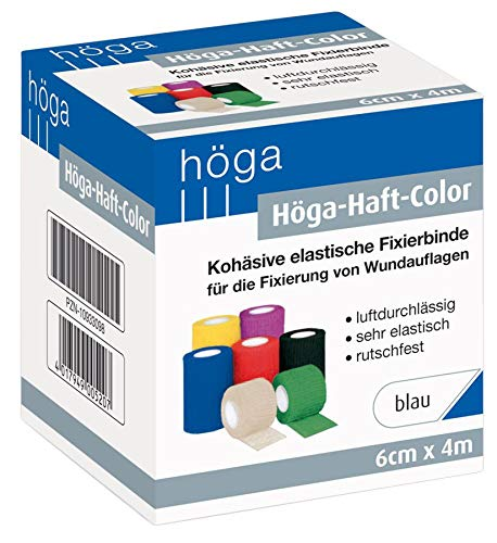 Höga-Haft-Color blau 6 cm x 4 m gedehnt, kohäsive (selbsthaftende) elastische Fixierbinde (1 Stück)
