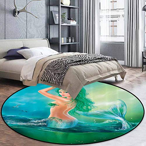 Mermaid Decor Couch Cover Area Rug Abstract Watercolor Mermaid in Ocean On Waves Tail Sea Creatures Dramatic Sky Dark Clouds Diameter 48 in(122cm)