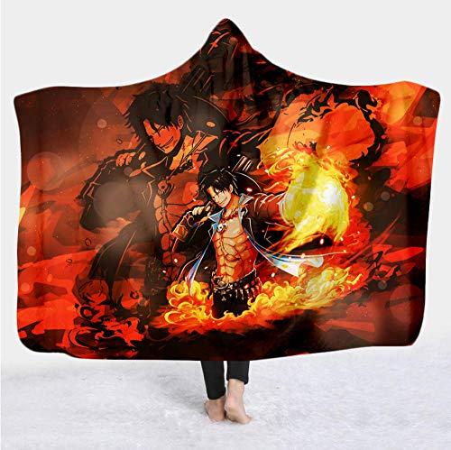 Manta de tiro con capucha con estampado de anime de una pieza en 3D manta de vellón suave y esponjosa, manta de cama individual de invierno felpa gruesa cálida para adultos y niños, Colo B_180*140cm
