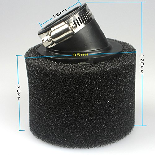 38mm Filtro de aire Limpiador de vainas de espuma Reemplazo para GY6 Go Kart Ciclomotor Pit Dirt Bike ATV Trail Bike Thumpstar Scooter Quad Esponja negra