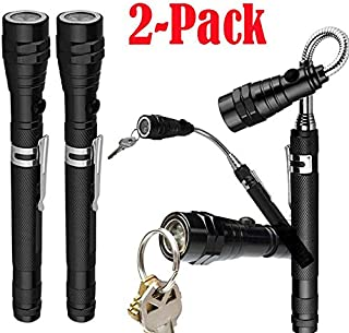2-Pack: Extendable Telescoping Magnetic Pickup Tool w/Flex-Head LED Flashlight (Black)