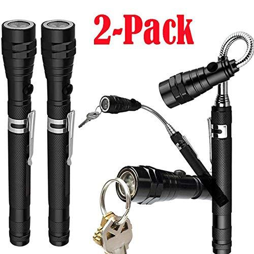 Taschenlampen,OHQ 2 Pack Ausziehbares Teleskop-Magnet-Pickup-Werkzeug mit Flex-Head Taschenlampe (Schwarz)