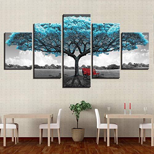 HMOTR Drucke Decor Gemälde Rahmen Wohnzimmer Abstrakte 5 Stücke Blau Großen Baum Roten Stuhl Bilder Landschaft Wandkunst Leinwand Poster-40 * 60 * 2 + 40 * 80_ * 2 + 40 * 100 * 1 (cm)