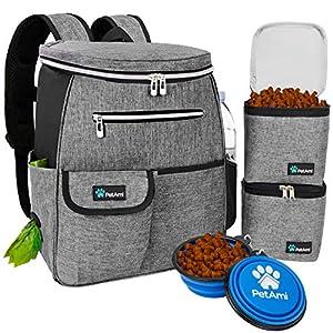 PetAmi Dog Travel Bag Backpack | Backpack Organizer with Poop Bag Dispenser, Multi Pocket, Food Container Bag, Collapsible Bowl | Weekend Pet Travel Set for Hiking Overnight Camping Road Trip (Gray)