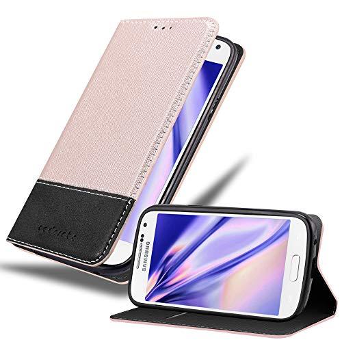 Cadorabo Hülle für Samsung Galaxy S4 Mini - Hülle in ROSÉ Gold SCHWARZ – Handyhülle mit Standfunktion und Kartenfach aus Einer Kunstlederkombi - Case Cover Schutzhülle Etui Tasche Book