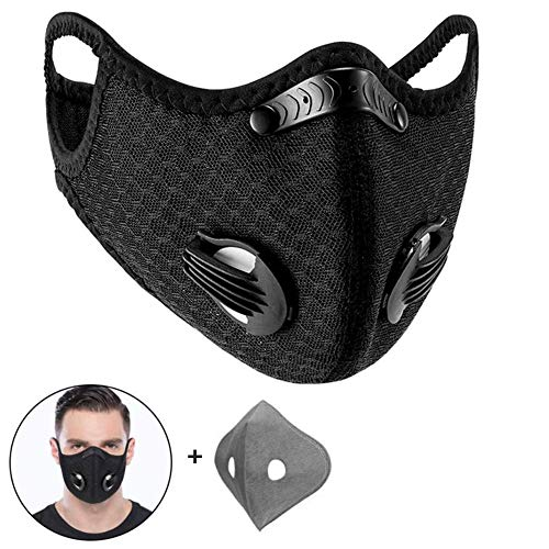 WISREMT Cycling Face Mask, Nylon Spandex Activated Carbon Windproof Dust-Proof Lightweight Breathable Quick Dry Outdoor Sportswear Mask (#2 (1 Black Mask+1 Filter))