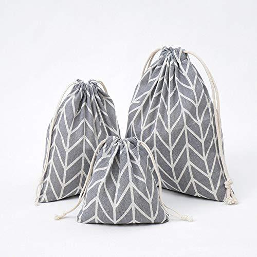 VOWAN Bolsa de Compras de 3 Piezas con cordón de algodón Ropa Interior de Viaje Zapato Organizador de Almacenamiento Bolsa Bolsa, E