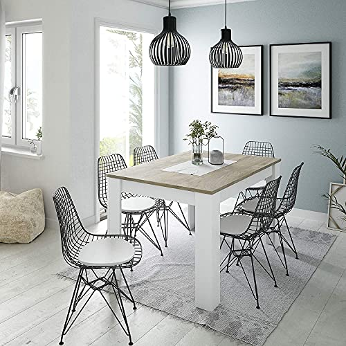 Dmora Tavolo Estensibile, con Struttura ripiano Color, cm 140 x 90 x h78, Rovere Alaska e Bianco