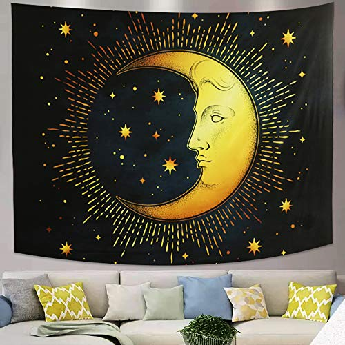 Azul negro luna creciente estrellas tapiz psicodélico popular colgante de pared de mitos egipcios tapiz de mandala bohemio retro para dormitorio sala de estar arte decoración del hogar(150x130cm)