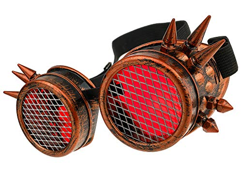 MFAZ Morefaz Ltd Welding Cyber Goggles Schutzbrille Schweißen Sonnenbrille Steampunk Goth Round Cosplay Brille Party Fancy Dress (Copper Spikes-Grid)